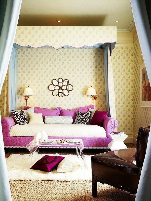 jugendzimmer mädchen rosa sofa tapeten