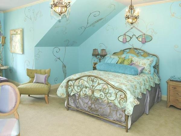 Jugendzimmer Mit Dachschräge Mädchen Grüne Farben Bett