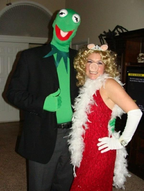 karnevalskostüme selbstgemachte kostüme kermit miss piggy