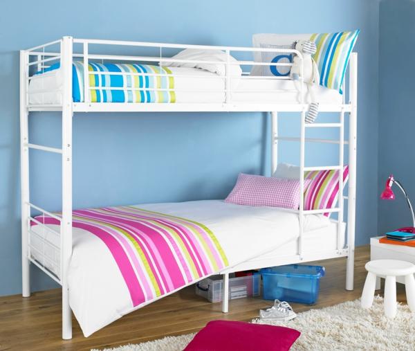 Kinder Etagenbett  Bilder Jugendzimmer Baby Blau Wand Hochbett Im  Kinderzimmer U2013 100 Coole Etagenbetten Für Kinder ...