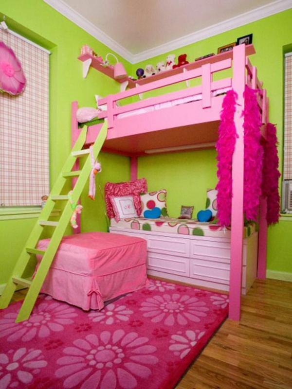 kinderzimmer farben wandfarbe grün rosa möbel