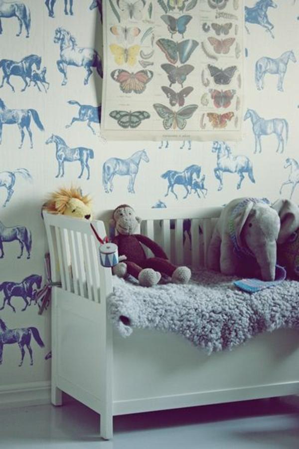 Kinderzimmer Tapeten Muster : kinderzimmer gestaltungsideen tapeten wandgestaltung pferde muster