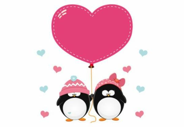 kinderzimmer wandtattoos pinguin paar mit herzen kreative wandgestaltung