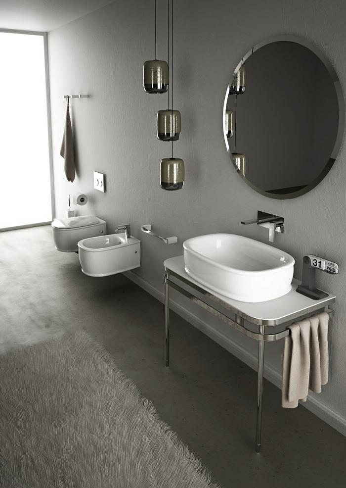 kleines badezimmer einrichten wandgestaltung bidet sanitäranlagen waschbecken retro design