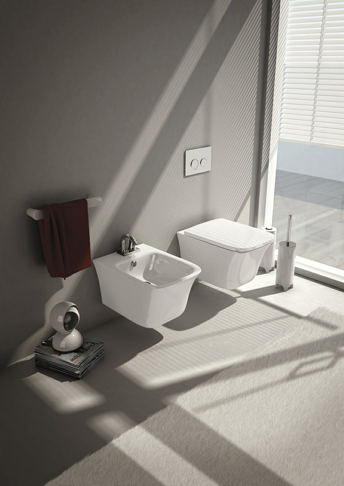 kleines badezimmer platzsparende wandgestaltung bidet tuchtrockner sanitäranlagen