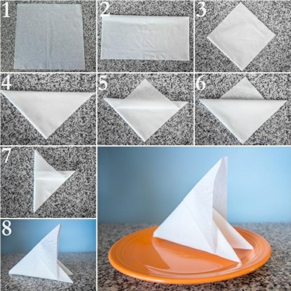 kreative bastelideen servietten falten anleitung tischdeko diy ideen