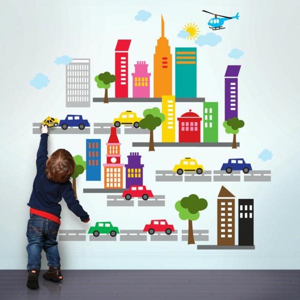 kreative wandgestaltung kinderzimmer wandtattoos wandaufkleber selbstaufklebend