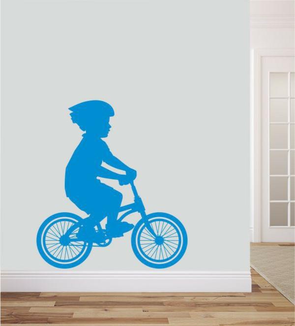 kreative wandgestaltung wandsticker kinderzimmer fahrrad fahren blau