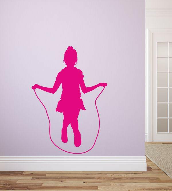 kreative wandgestaltung wandsticker kinderzimmer kinderträume seilspringen