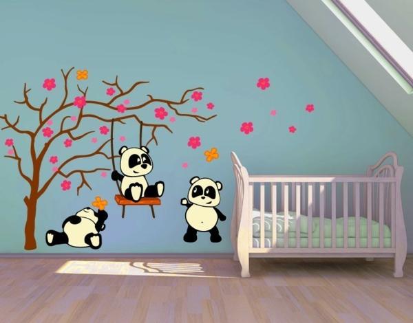 kreative wandgestaltung wandtattoo babyzimmer panda bär baum wandaufkleber