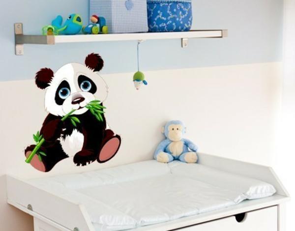 kreative wandgestaltung wandtattoo babyzimmer panda bär wandsticker wickelraum