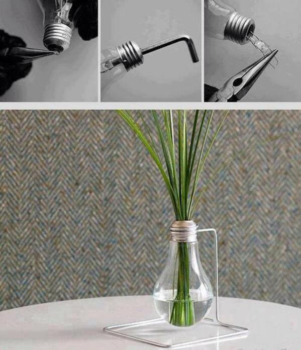 lampe glühbirnenform diy deko ständer vase