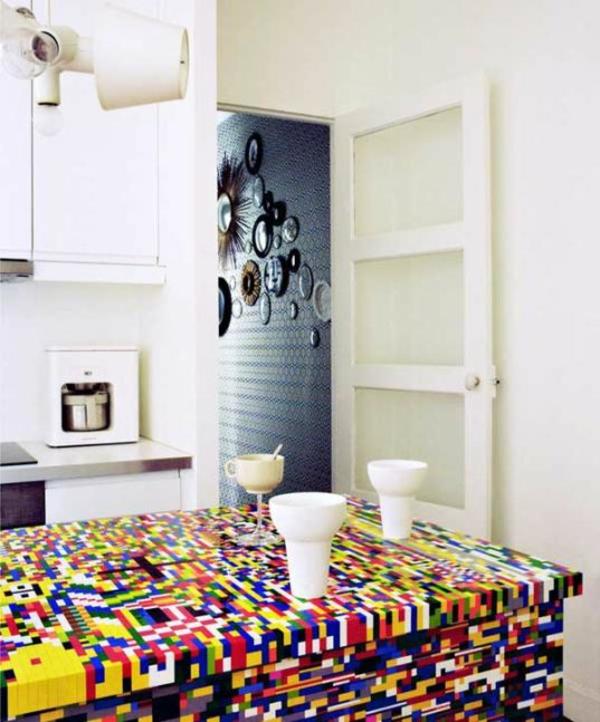 figuren diy kreativ küchengestaltung Küchenblock aus Legosteinen
