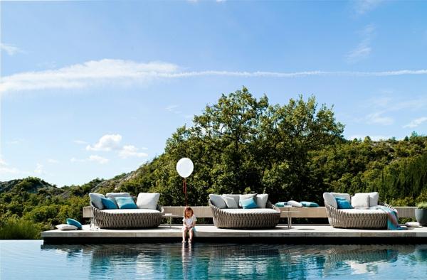 lounge möbel moderne loungebetten gepolstert outdoor