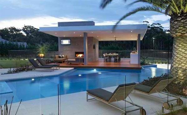 lounge möbel relax liegestuhl gartenpool minimalistisch modern