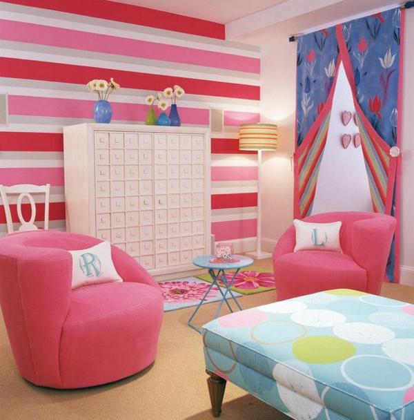 jugendzimmer für mädchen rosa wanddeko sessel