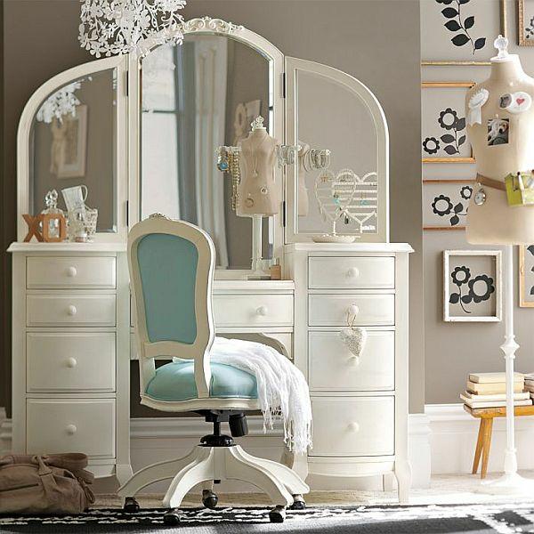 luxus jugendzimmer mädchen schminktisch stuhl wanddeko