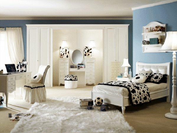 jugendzimmer mädchen schminktisch teppich schwarz weiß