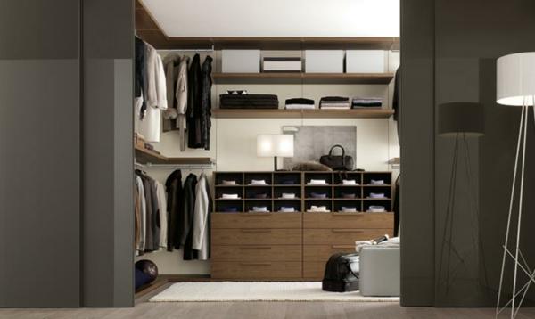 männer ankleidezimmer einrichten begehbarer kleiderschrank holzregale