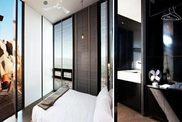 mini bungalow holz innendesign kleines badezimmer ausgefallene hotels