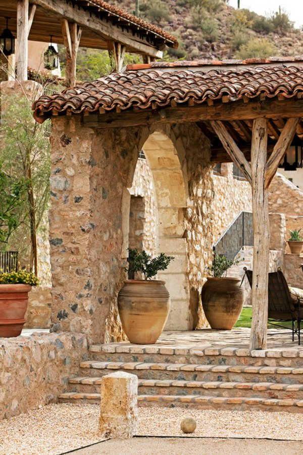 patio natürliche materialien exterior