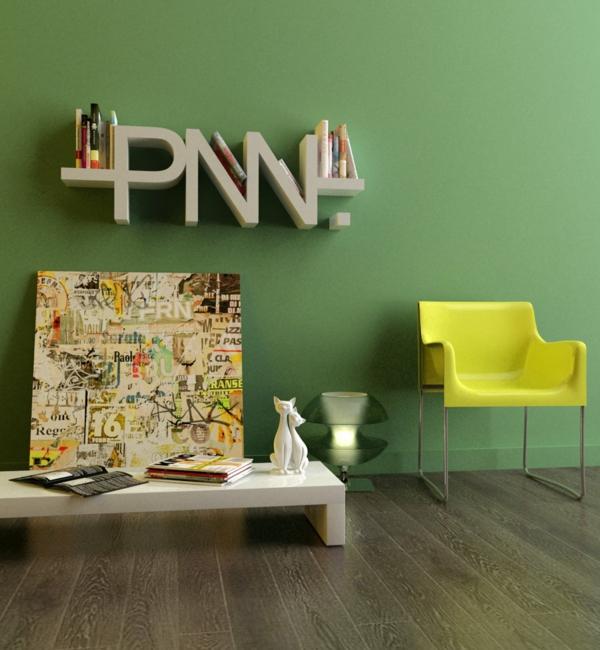 modern wandregal design art grün wand