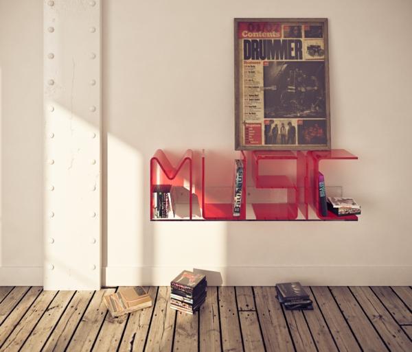 wandregal design art musik akryl