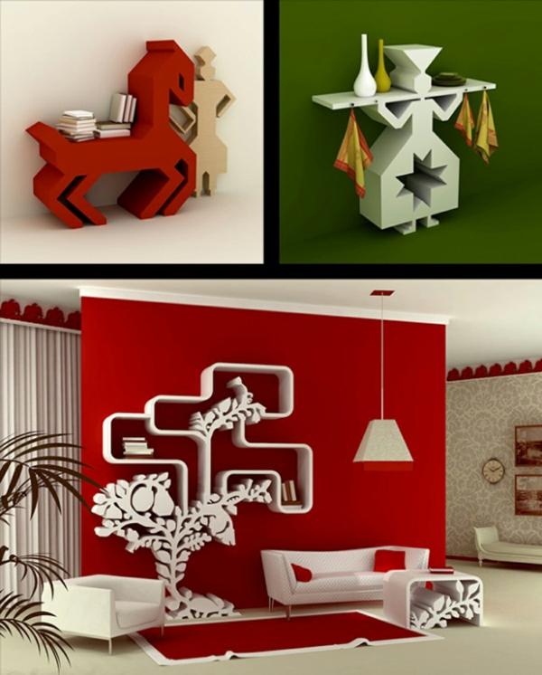 zeitgenössisch wandregal design art rot grün