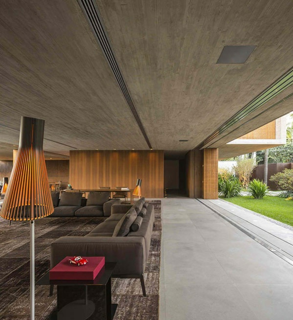 Beton Wand Sofa Wohnzimmer