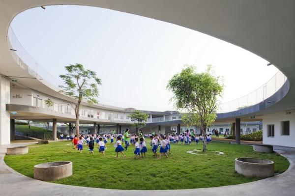 moderne architektur kindergarten heute grünes design kinder spielplatz