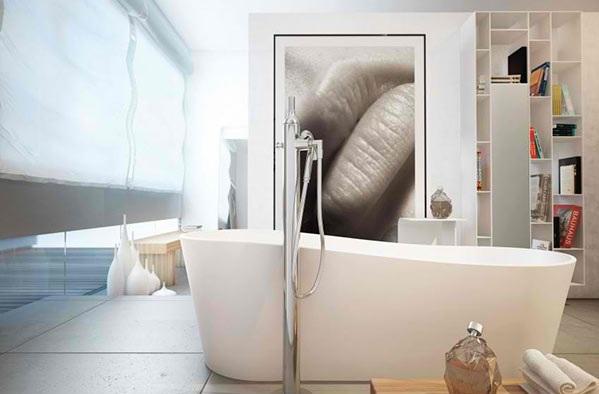 moderne badezimmer wandgestaltung wandregale freistehende badewanne moma design