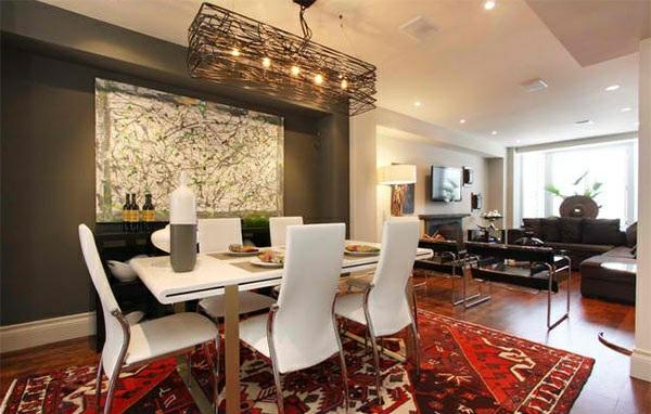 moderne esszimmer gestalten teppichboden esstisch mit stühlen weiß