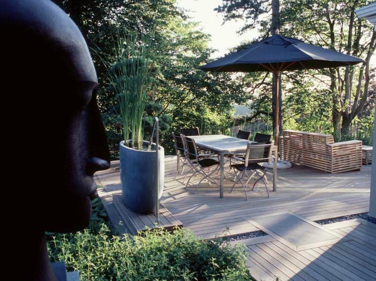 moderne gartengestaltung anthony paul terrassendielen essbereich gestalten pflanzen skulptur