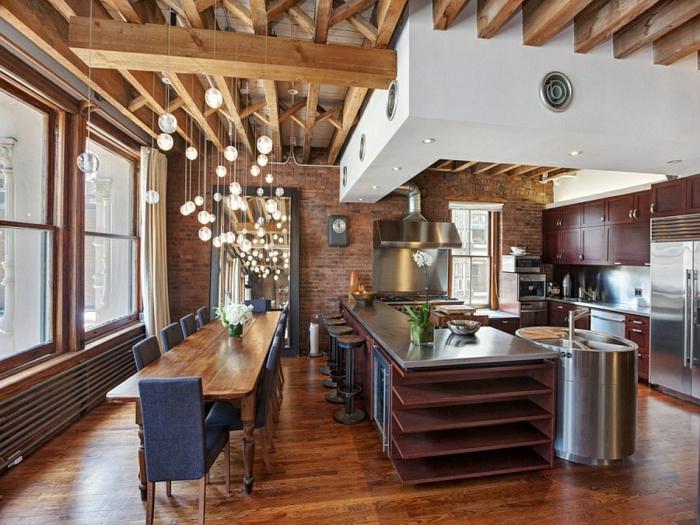 moderne inneneinrichtung esszimmer küche gestalten kücheninsel holzboden new york stadtwohnung