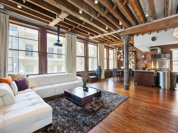 moderne inneneinrichtung wohnzimmer möbel holzbalken holzboden new york stadtwohnung