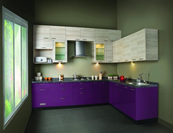 modul küchenmöbel designideen küche lila und beiige