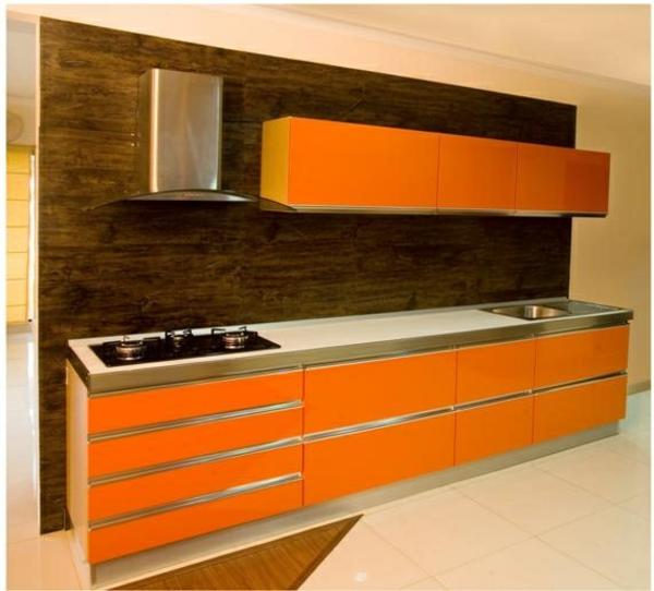 modul küchenmöbel designideen küche orange und braun