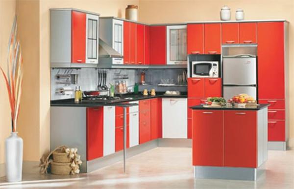 modulküchen designideen küche rot und weiß