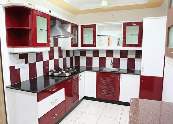 modulküchen designideen küche rot weiß quadratmuster