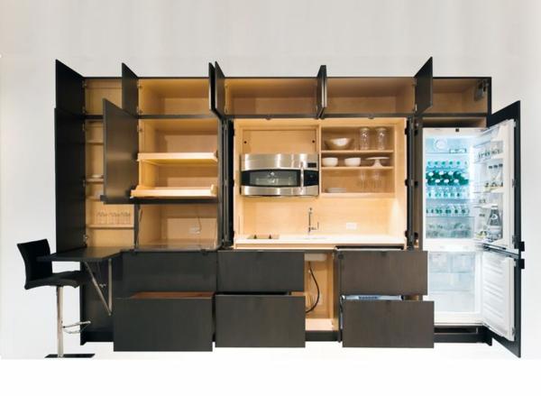 modulküchen designideen küche schwarz eingebaute geräte