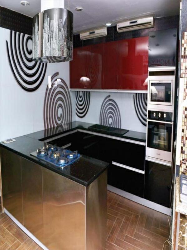 modulküchen designideen küche stahl rot und grau