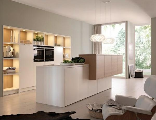 modulküchen designideen küche weiß pendelleuchten