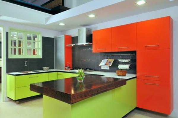 moderne modulküchen designideen signalfarben
