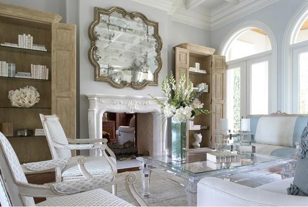 moderne wohnzimmermöbel couchtisch spiegelfläche wandgestaltung mit spiegel