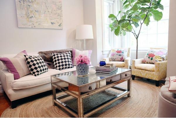 moderne wohnzimmermöbel spiegelfläche couchtisch mit stauraum