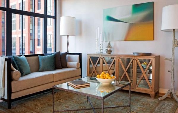 moderne wohnzimmermöbel spiegelfläche holzkommode couchtisch wanddeko standleuchten