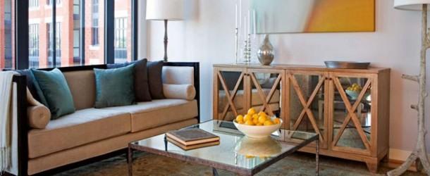 moderne wohnzimmermöbe spiegelfläche holzkommode couchtisch