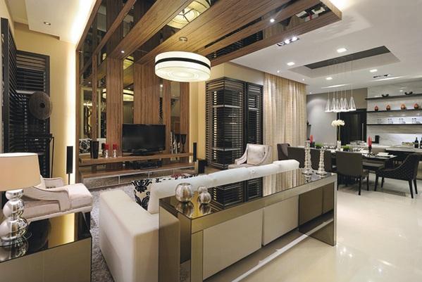 moderne wohnzimmermöbel spiegelfläche wohnzimmer tisch beistelltisch stehlampe