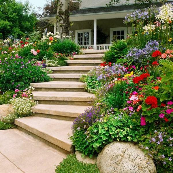 vorgarten gestalten ideen gebogene treppe