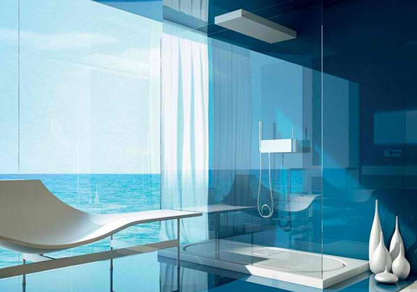 modernes badezimmer möbel dusche glaswände meerblick moma design